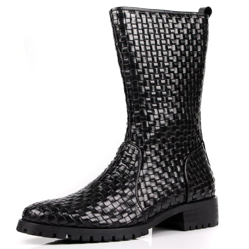 Just Cool Brand Designer Black Mens Boots Genuine Leather Men Shoes Winter Boots Handmade Weave Checkered Knee High Boots<br><br>Aliexpress