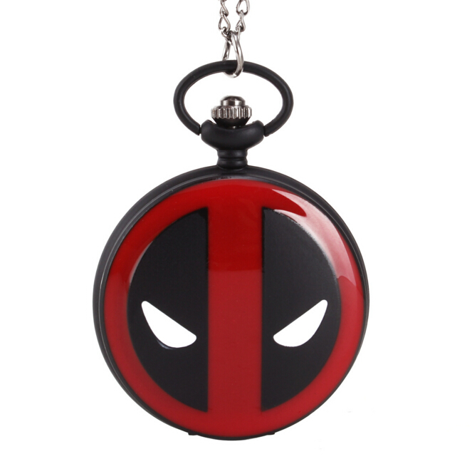 Cool Black/Bronze Deadpool Theme Fob Pocket Watch With Necklace Chian Cosplay Anime Cartoon Bullet Quartz Steampunk Pendant Gift(China (Mainland))