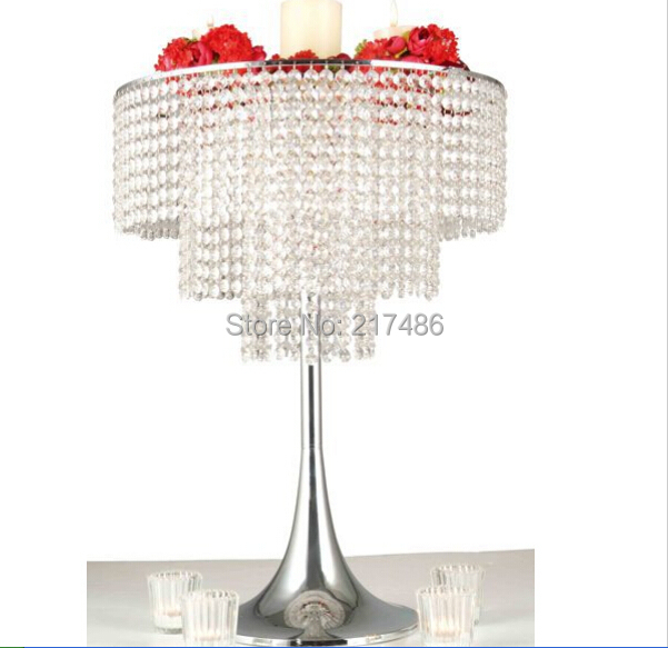 sliver wedding table flower stand center pieces with the acrylice bead strands(China (Mainland))