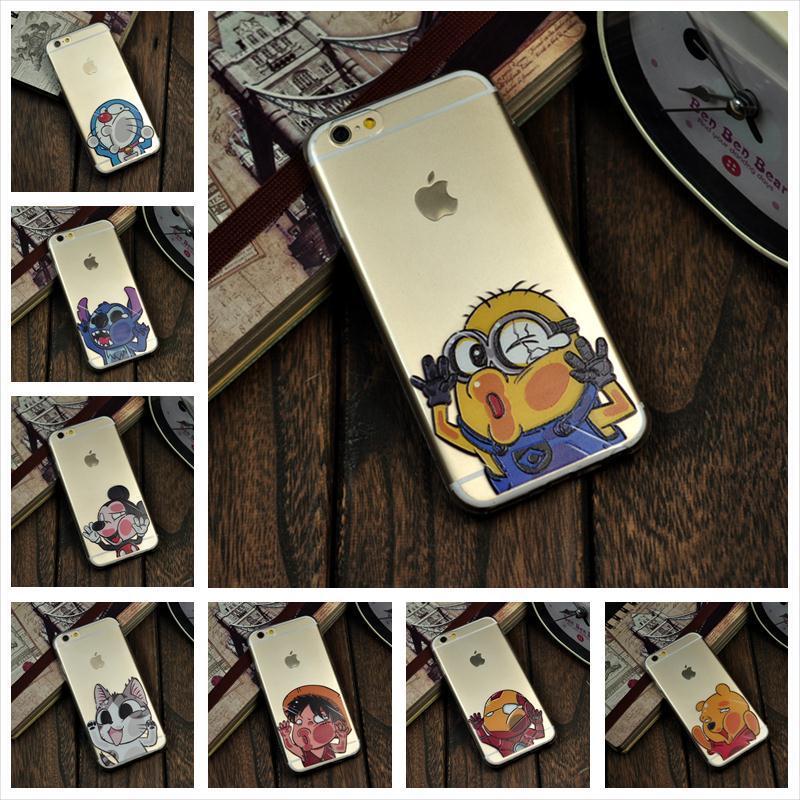 Cartoon phone case Apple iPhone 6 Transparent Doraemon Minions Iron Man Hit glass Soft TPU Cell Phone cases covers - BLGK store