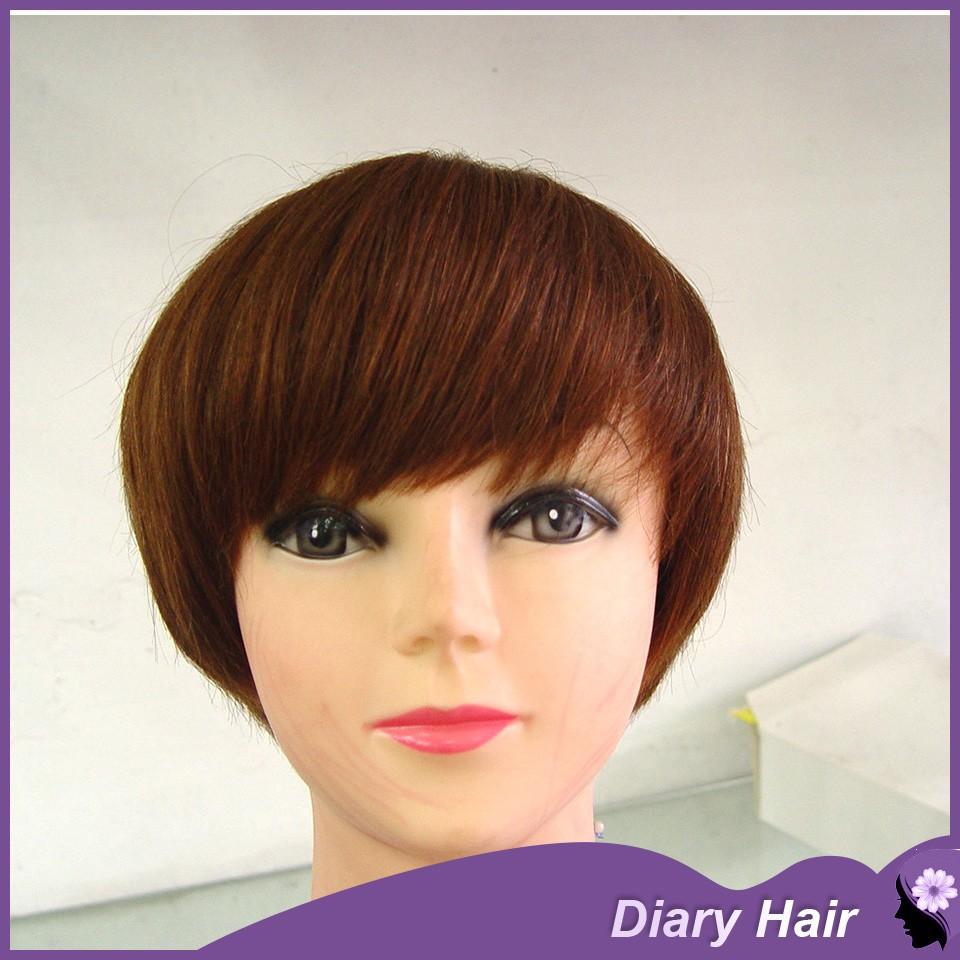 Top Quality short hair straight bob wigs human hair brazilian light brown short hairstyles best cheap hair cuts with full bangs(China (Mainland))