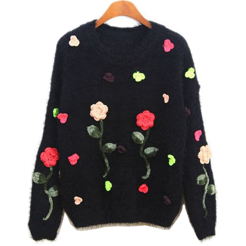 Sweater women korean style flowers embroidered roses