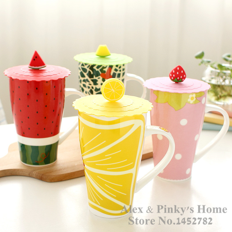 Creative Fruit Cup Lovely Big Mug Coffee Cup Lid Mug Ceramic Cup
