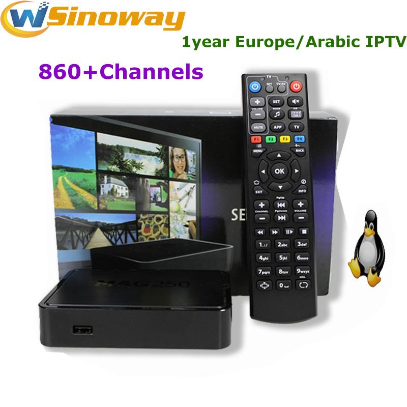 iptv arabic box MAG 250 STi7105 include iptv europe 1 year step IPTV server ott tv box MAG250 American IPTV French ip tv(China (Mainland))