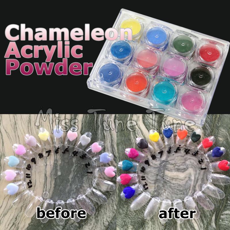 12 Pots Chameleon Nail Art 3D Acrylic Powder Themal Temperature Color Change Builder Pigment Dust