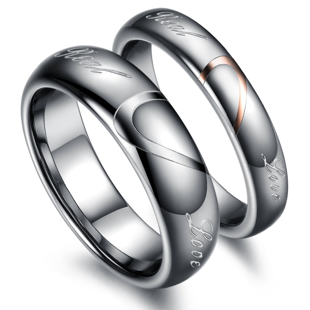 2015 Free Bands Romantic Shipping New Hot Trend Fashion Jewelry Couple Steel Rings Love Gift Wj242 Tungsten Metal - kiki fashion jewelry ( worldwide store)