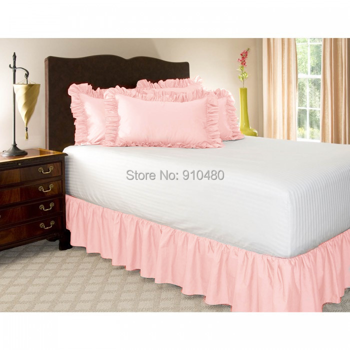 "Free Shipping!! Hot Sale home bed skirt king size Elastic Bed Ruffles for King/Queen Size Bed With 14"" Drop(China (Mainland))"