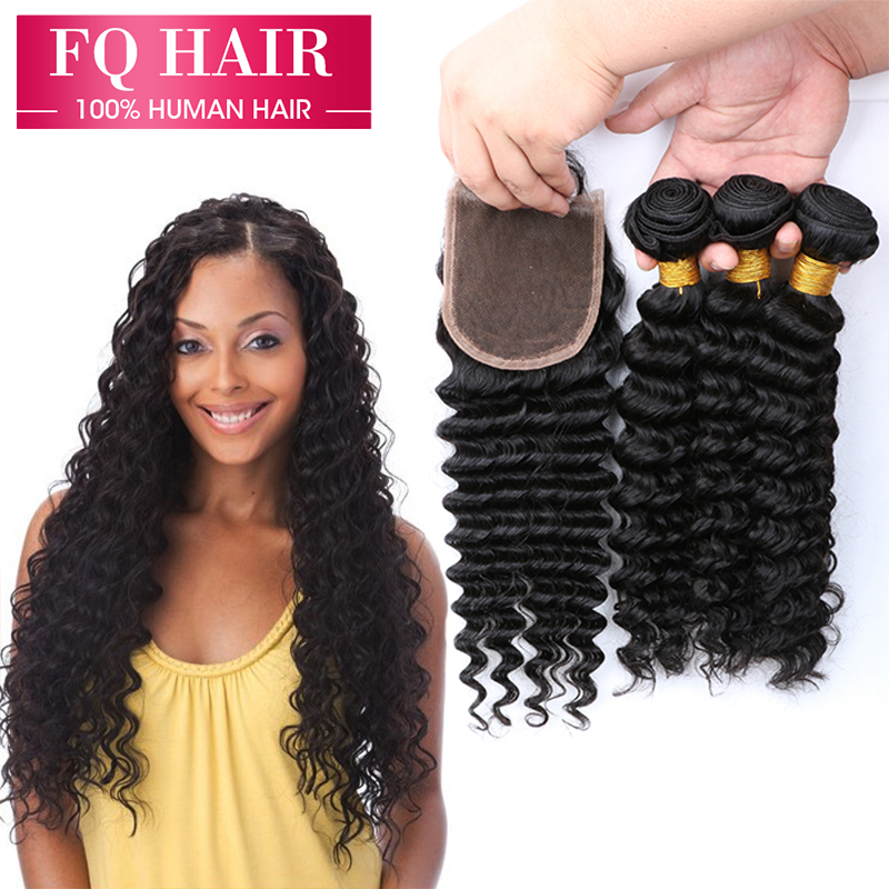 Sell 100% Best 7A Peruvian Deep Wave Virgin Hair Closure Unprocessed Curly Soft 3 Bundles - Shop1092400 Store store