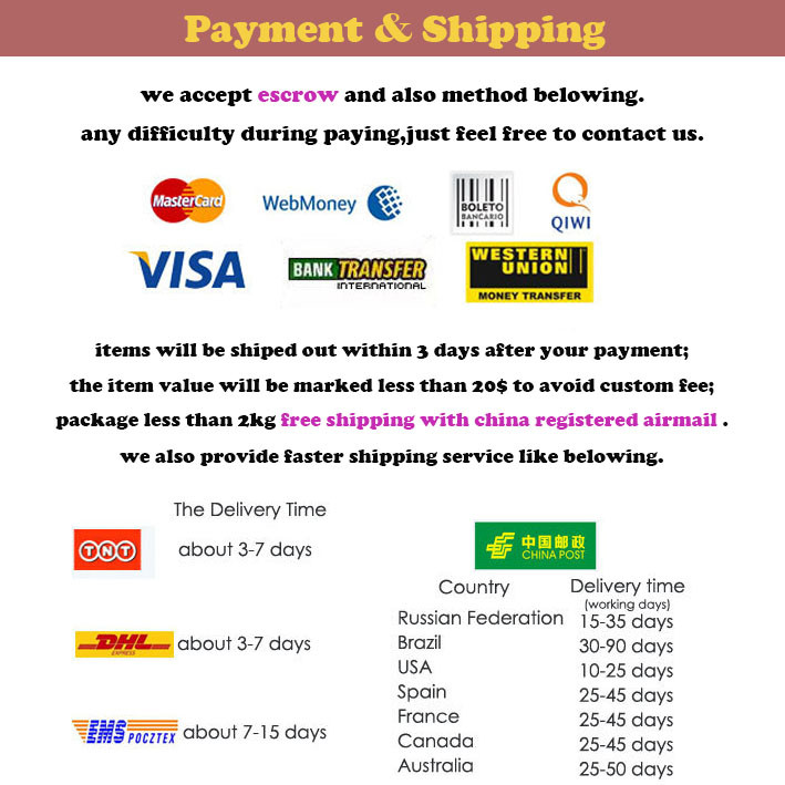 new payment and shipping