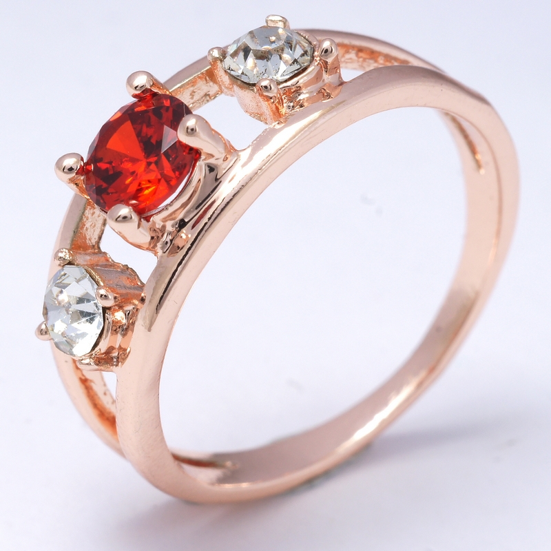 Hot Selling Dropship Fashion Show Sexy Red 18K Rose Gold Filled Cubic Zircon Women Lady Fashion