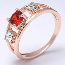 Free shipping Dropship Fashion Show  Sexy Red 18K Rose Gold Filled  Cubic Zircon  Women Lady Fashion  Ring Jewelry R0057