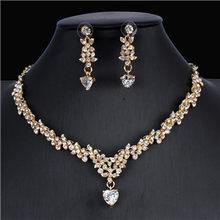 Jiayijiaduo קלאסי כלה תכשיטי סטים לנשים של שמלות אביזרי מעוקב שרשרת עגילי סט זהב צבע שמלות כלה(China)