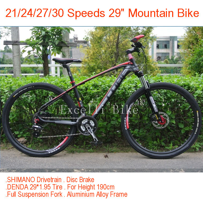 21 Speeds 29*19 Mountain Bike 29 Full Suspension Fork Aluminium Alloy Frame 29*1.95 Tire Bicicletas mountainbike For 190cm man<br><br>Aliexpress