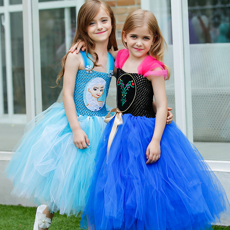 Princess Anna Elsa Girl Dress Elegant Girls Costume Tutu Dresses with Snowflake Baby Girl Dresses For Birthday Party KPT21(China (Mainland))