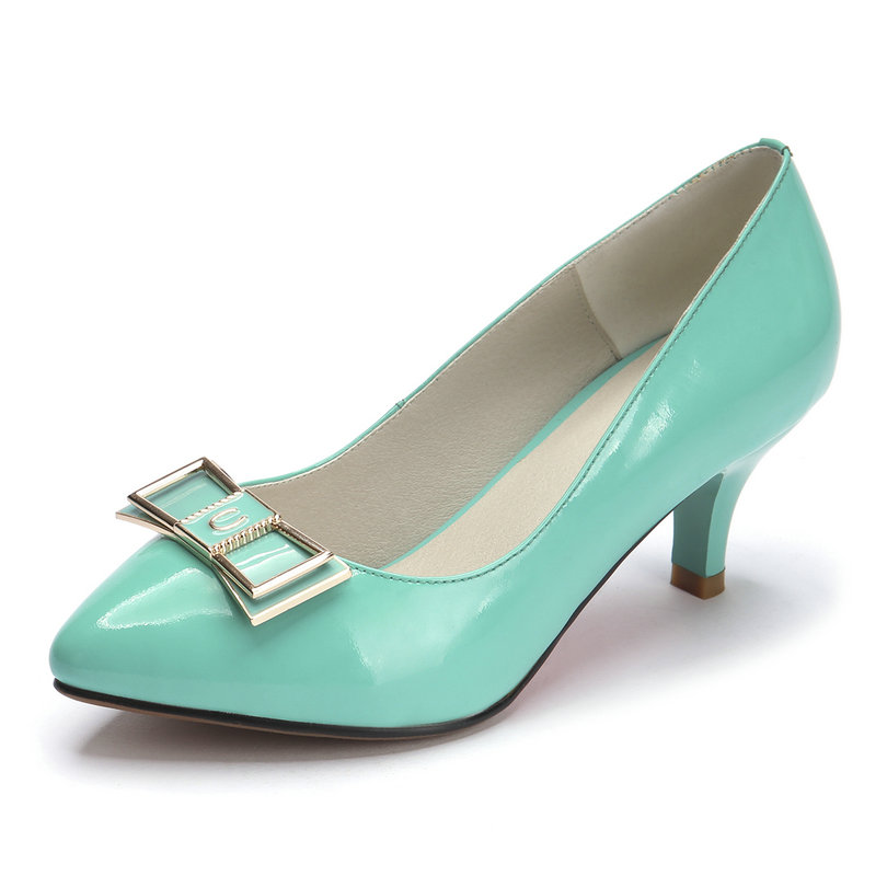 Slip On Pointed Toe Office Miss Shoes,Thin High Heel Genuine leather Bow Tie Spring Autumn Women Pumps Shoes Size 34-39 Green