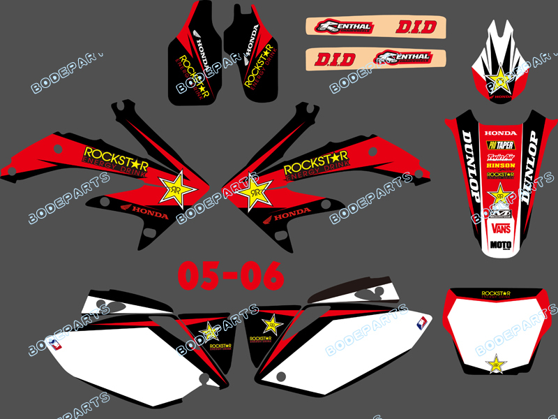Style (0095 Star Red&White) TEAM GRAPHICS&BACKGROUNDS DECALS STICKERS Kits CRF450 2005-2006 - Yongkang Tongshida Industrial & Trade Co., Ltd. store