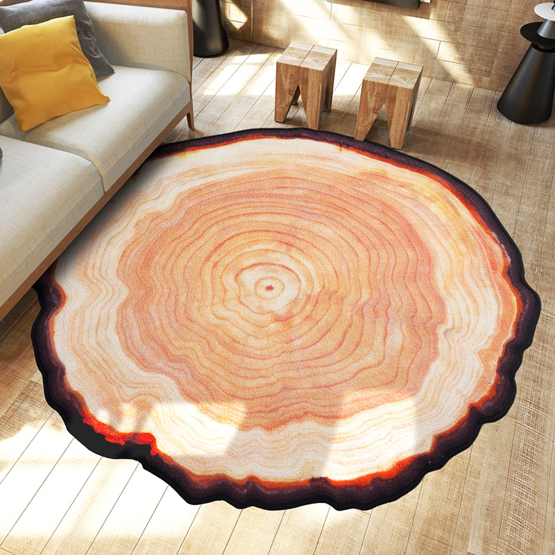 Personality Old Tree Rings Carpet Wood Color Round Floormats Parlor Door Mats Bedroom Living Room Sofa Table Area Rugs Deco(China (Mainland))