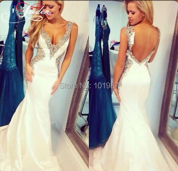 v neck tank white beads mermaid long prom dresses backless floor length evening gowns party dress abendkleider - Suzhou Babyonline Dress Co. , Ltd store