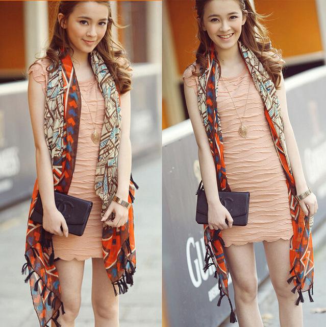 Корейской версии национальной ветер геометрии шарфы вуаль хлопкового бахромой платок кулон кисточкой кондиционер солнце шарфы