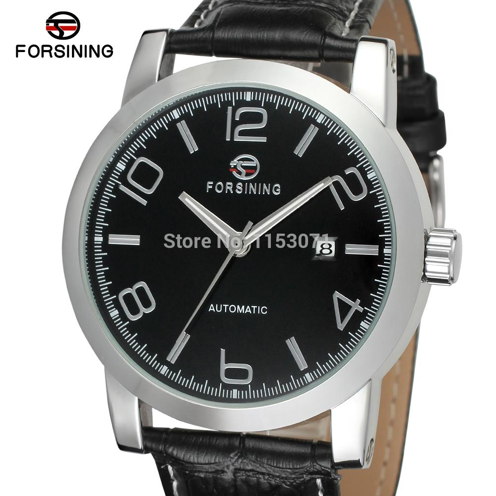 WRG8082M3S2 Forsining brand Winner Autoamtic SelfWind mens analog round watch with gift box  black leather strap  free shipping<br><br>Aliexpress