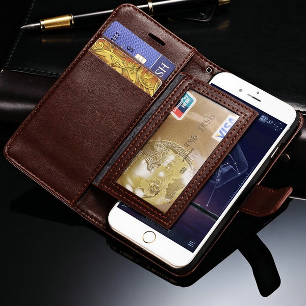 For iPhone 6 Luxury PU Leather Flip Case With Wallet Style Display Stand Photo Frame Cover For Apple iphone6 Accessory(China (Mainland))