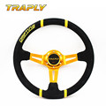 TRAPLY Deep Dish Suede Leather Steering Wheel OMP 14inch 350mm PVC Drifting Automobiles Sport Steering Wheel