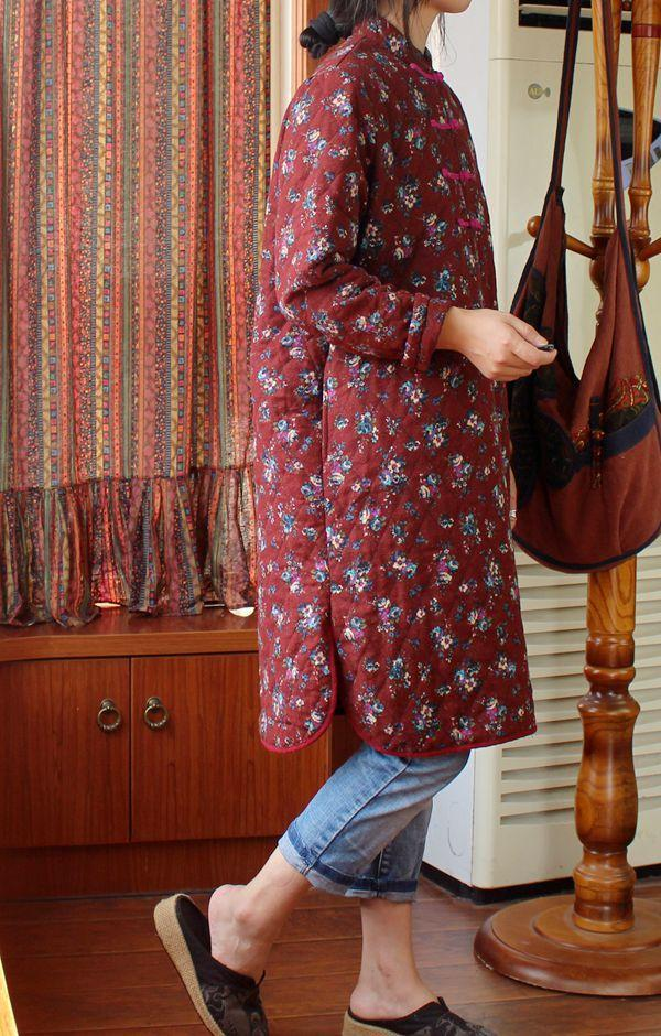 Original spring and autumn double-sided sanding quilted cotton folk style coat  thin coat