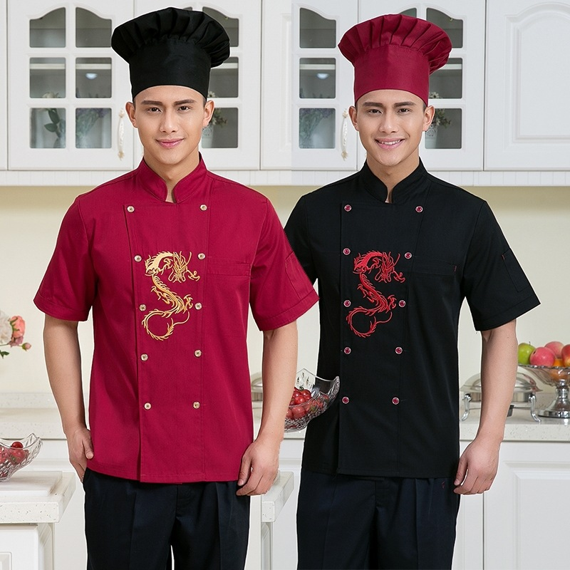 Hot Sales Chef Uniform Breathable Summer Hotel Kitchen Short Sleeved Overalls Men and Women Kitchen Uniforms(China (Mainland))