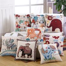 Linen Cotton Tribal Ethnic Embroidery Elephant Car Throw Pillowcase Cushion Cover