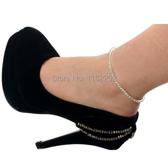1 One Row Clear Crystal tennis Silver Gold Stretch Anklet ...