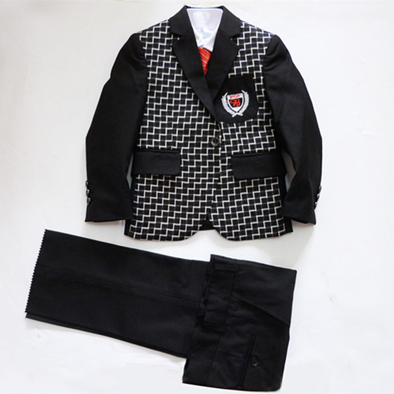 Boys black blazers weddings 3 pieces tuxedo clothing sets Jacket Vest Trouser boutique clothes Kids Birthday - Super Costumes store
