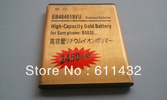 NEW  EB484659VU High Capacity Gold Battery For SAMSUNG S5820 Exhibit W689 Smart Touch T589 i8150  Free shipping