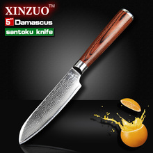 5″ santoku knife Japanese VG10 Damascus stainless steel kitchen knife sharper chef knife with color wood handle FREE SHIIPPING