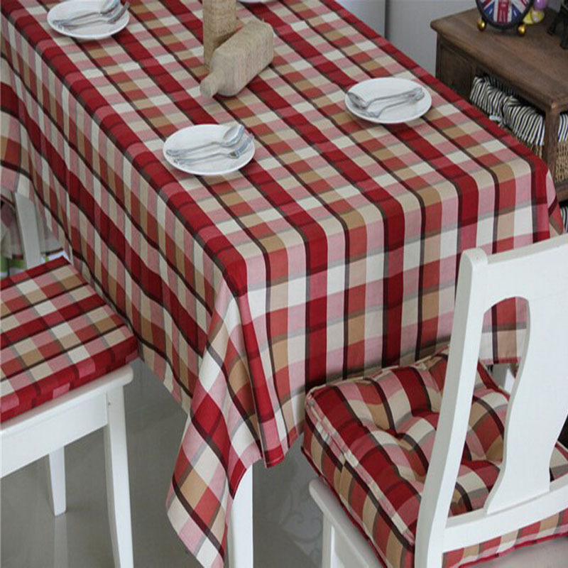 Satin Table Cloth Dining Covers Wedding Linen Tablecloths For Round Tables Red Europe Plaid Printed Free Shipping(China (Mainland))