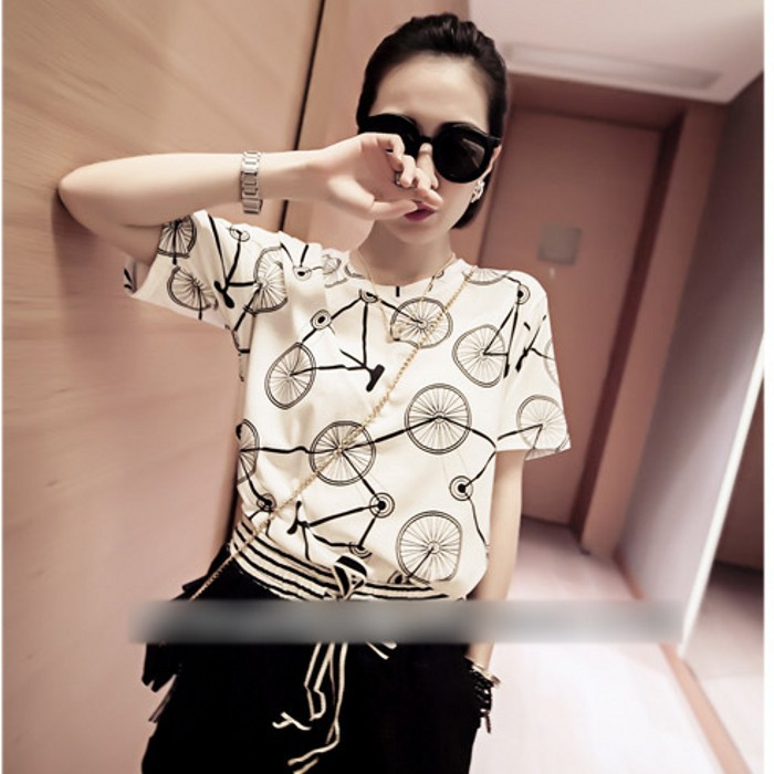 summer 2015 new women's relaxed joker t-shirts short sleeves female student class loading tide girlfriends - shuijingling store
