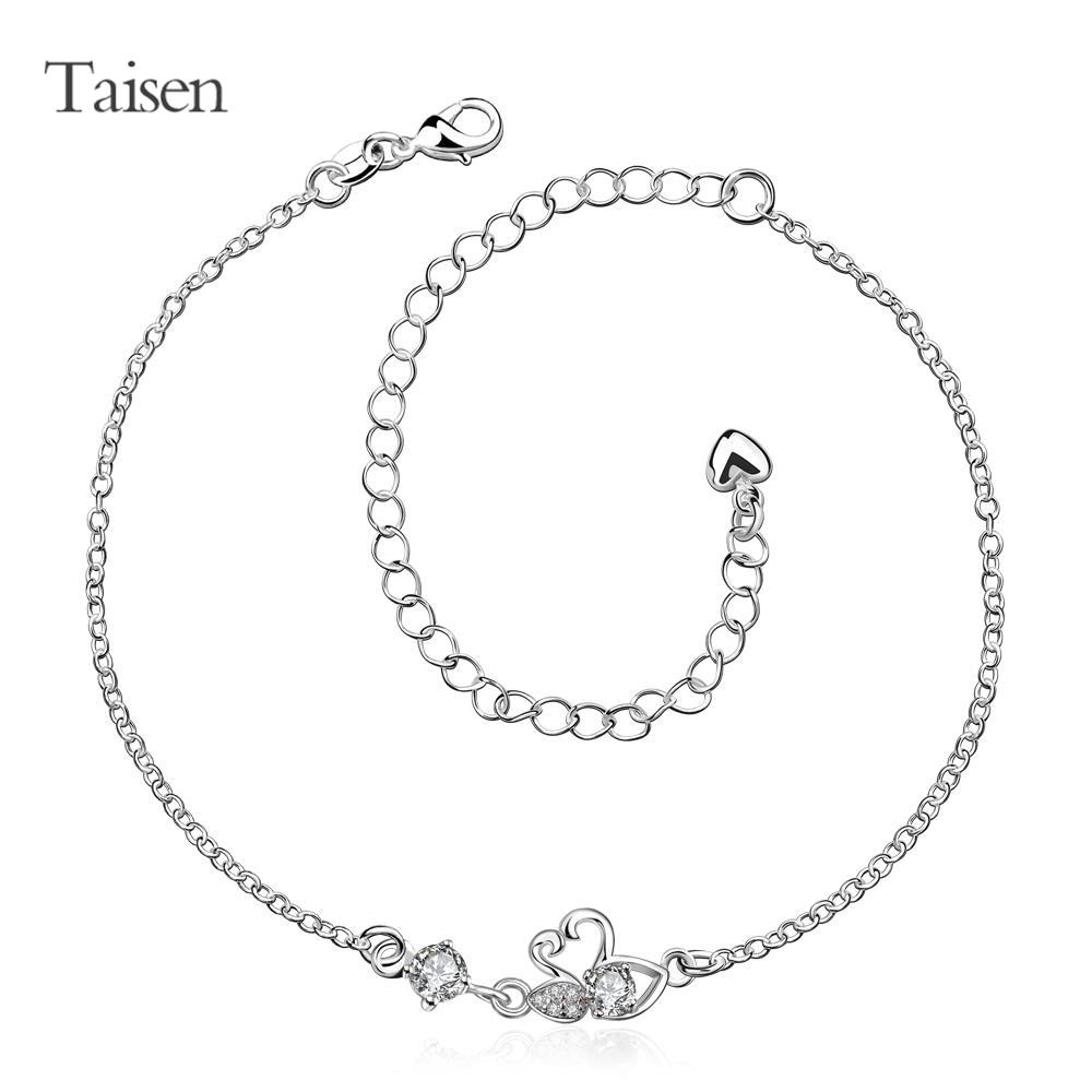 ankle chain foot chain silver anklet 2016 love heart accessories cute stone fashion double swan style 20+10cm anklet(China (Mainland))