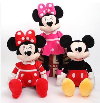 2016 горячие продажа 40 см Высокое качество Микки или минни маус Плюшевые Игрушки Куклы на день рождения Рождественский подарок 1 шт./лот