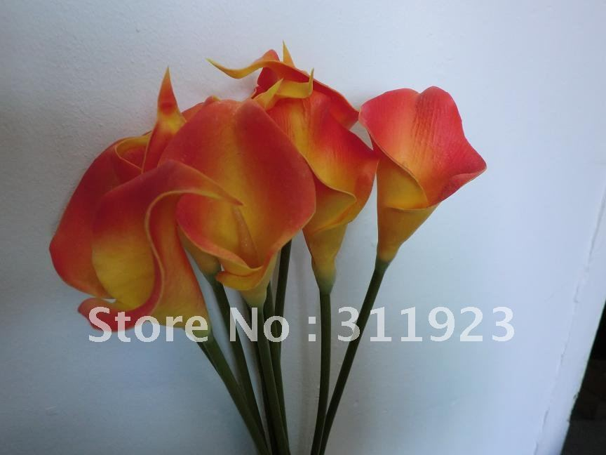 Real and soft touch flame orange mini artificial calla lily flowers, great deco for wedding hall decoration and other themes(China (Mainland))