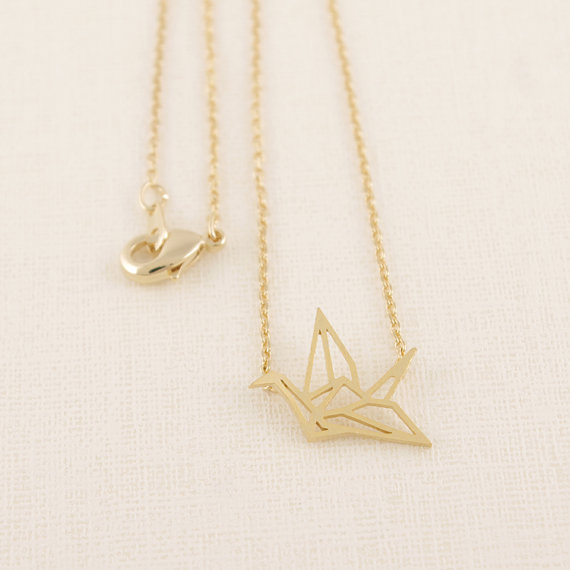 2016 Fashion 18k Gold Plated Origami Crane Pendant Necklaces Women Simple Bird Animal Couple Necklace N006 - yuki ho's store
