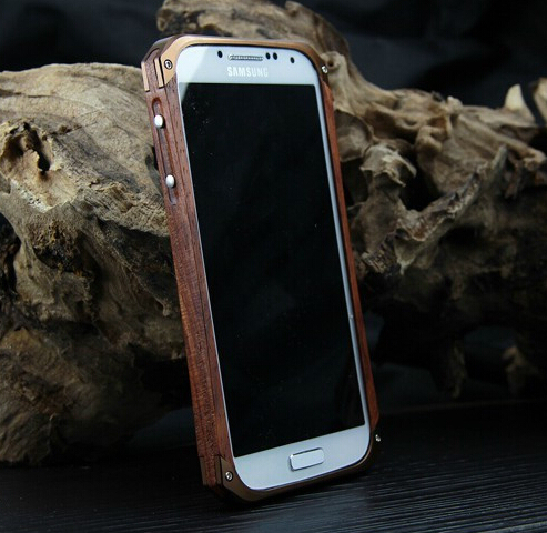 S4 Luxury Natrue Wood + Aluminum Bumper Case Cover For samsung galaxy s4 i9500 Cases wooden Metal Frame(China (Mainland))