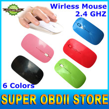 2015 New Arrival Ultra Thin USB Optical Wireless Mouse With 2.4 GHZ Mouse Receiver For PC Laptop Desktop 6 Candy Color(China (Mainland))