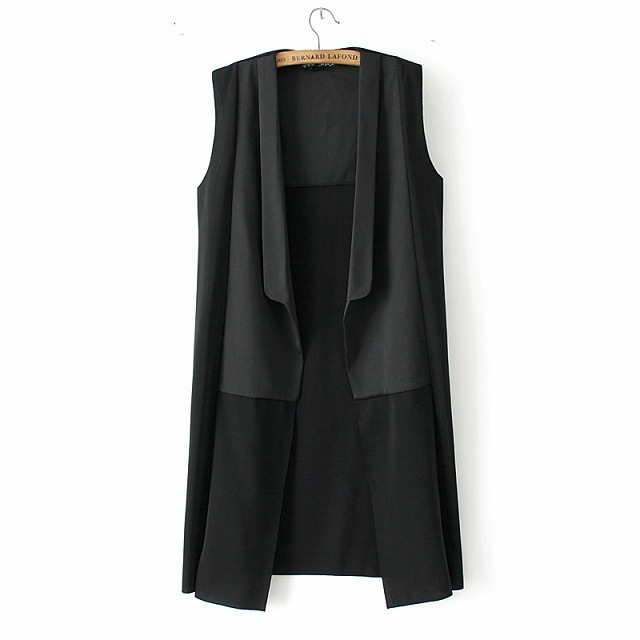 2015 Fashion Women Long Vest Waistcoat Solid Turn-down Collar Chiffon Sleeveless Suit Jacket black Gilet Femme Colete SP225 - Zhonghuan Clothing No.5 Store store