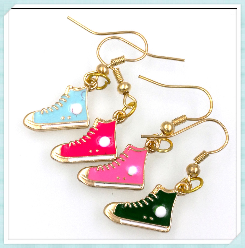 4 pairs baseball trainer sport shoe charm earring choose your color drop shipping ER756(China (Mainland))