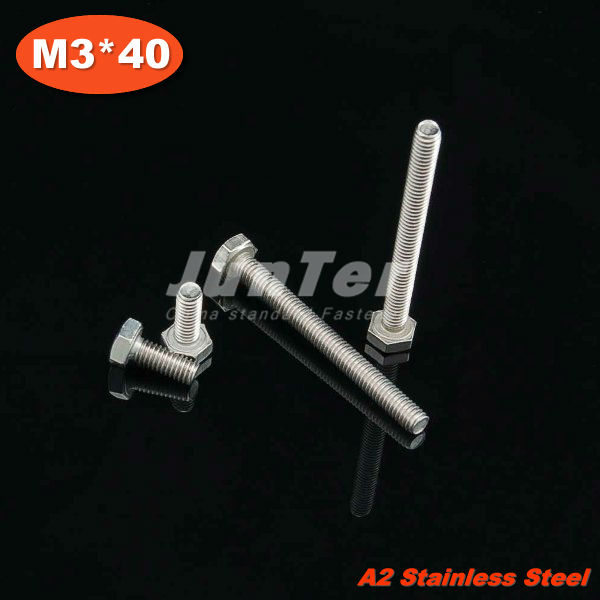100pcs/lot DIN933 M3*40mm Stainless Steel A2 Hex Head Set Screw<br><br>Aliexpress