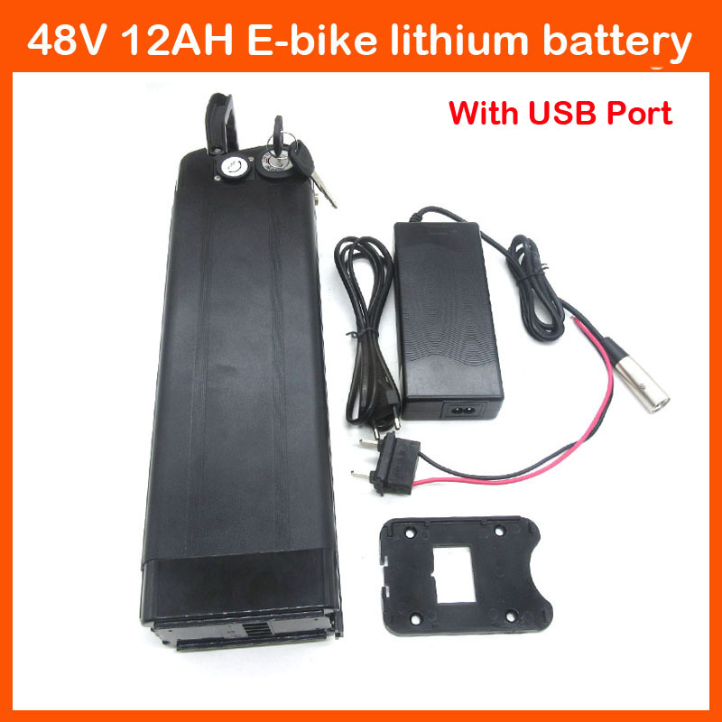 More discount 700W 48V lithium battery 48V 12AH Electric Bike battery with Aluminum case USB port 2A charger Bottom Discharge(China (Mainland))