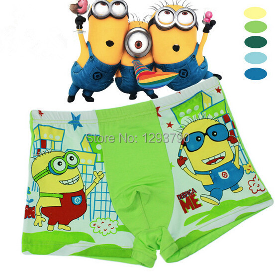 Random color Hot selling free shipping cotton despicable me children's panties kids boys underwear boxers funcle074(China (Mainland))