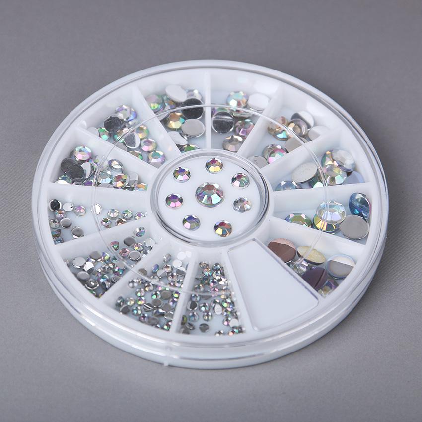 1set Nail Decoration Rhinestone 5 Sizes White Multicolor Acrylic Nail Art Decoration Glitter Rhinestones