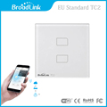 New Arrival EU Standard Broadlink TC2 Wireless 2 Gang Remote Control Wifi Wall Light Touch Screen