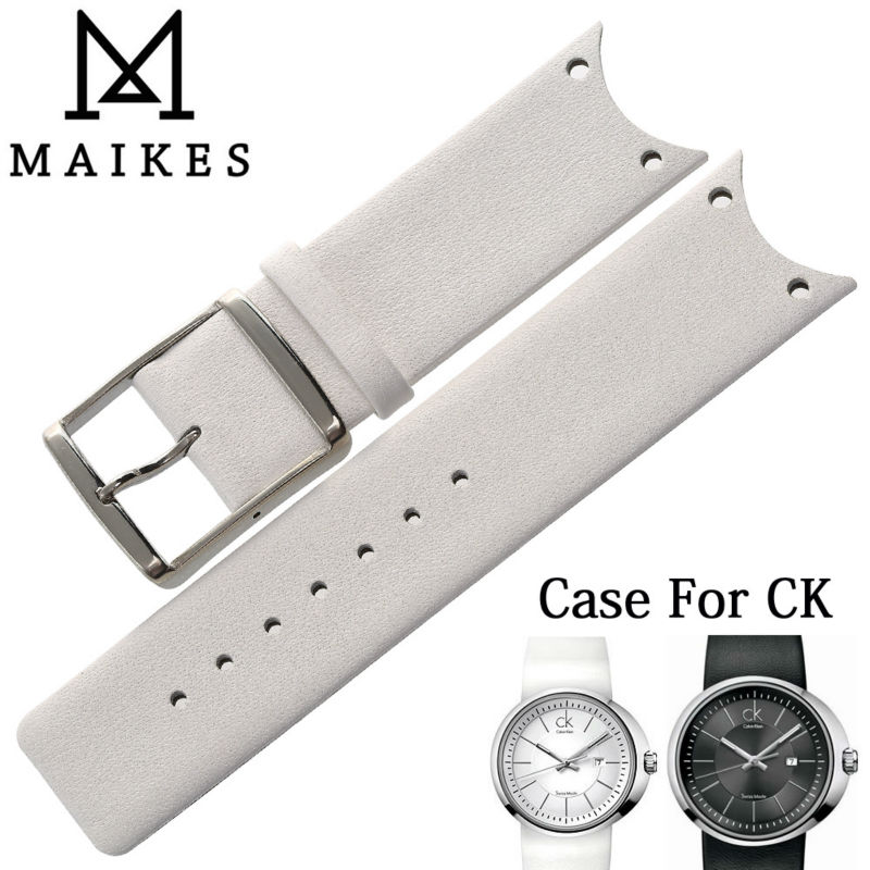 MAIKES New Arrival Genuine Leather Watch Band Strap Soft Durable Thin Watchband Case For CK Calvin Klein KOH23101 KOH23220(China (Mainland))