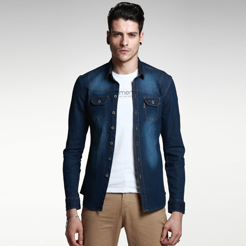 Denim Shirt Men Fashion Summer Blue Jeans Long Sleeve